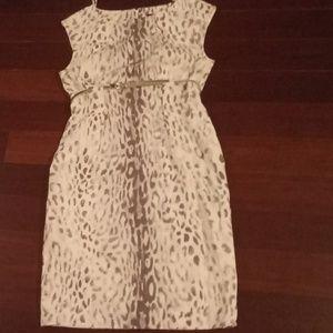 White leopard print dress with belt
